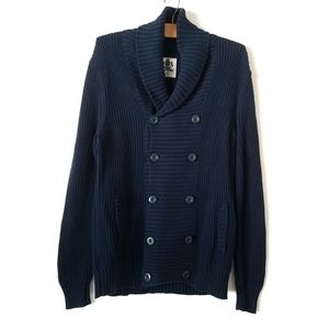 Express navy blue ribbed double breasted cardigan